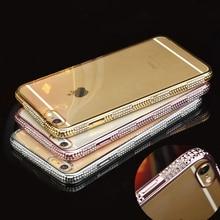 יוקרה בלינג ריינסטון קייס מסגרת עבור iphone 6 6 s 6 בתוספת נקי דק במיוחד רך TPU גביש יהלום האופנה(China (Mainland))