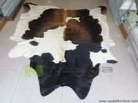 CL120 Pure Natural Cowhide Rug Black Coffee Lines Of Milk Cow Leather Carpet FREE SHIPPING