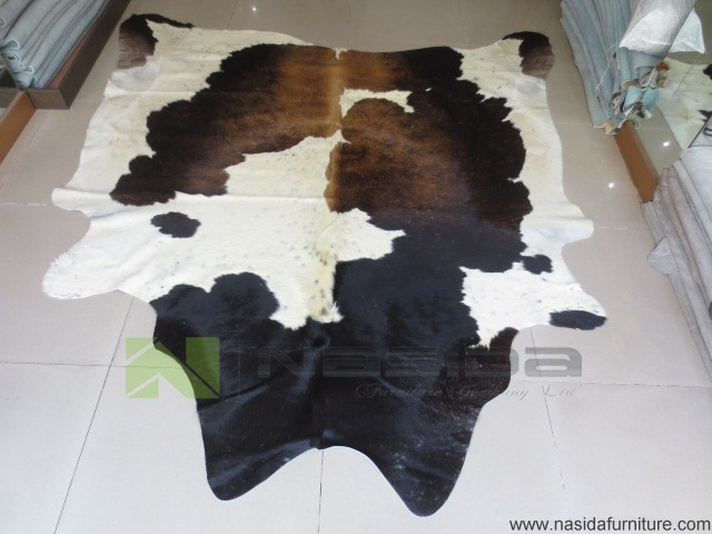 CL120 Pure Natural Cowhide Rug Black Coffee Lines Of Milk Cow Leather  Carpet + FREE SHIPPING