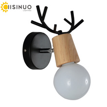 Nordic Modern Deer Antlers LED Wall Light Black White Solid Wood Novelty Animal Wall Lamp Home