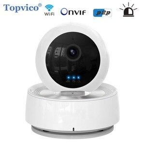 Topvico Alarme WI-FI 1.0MP PTZ Pan Tilt Câmera IP Sem Fio IR LEVOU 720 p P2P Plug Jogar Cam Câmera de Segurança de Vigilância de Vídeo Em Casa