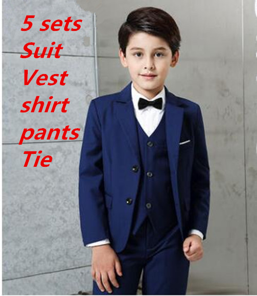 2017 new arrival fashion baby boys kids blazers boy suit for weddings prom formal 5 packs navy blue dress wedding boy suits цены онлайн