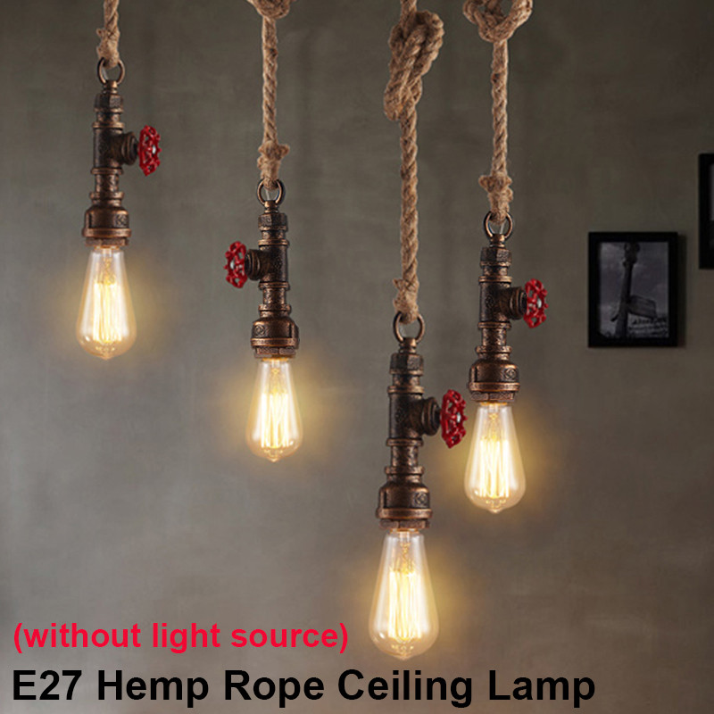 Smuxi Vintage E27 Loft Retro Industrial Water Pipe Pendant Lamp Hemp Rope Light For Bar Restaurant Dining Room