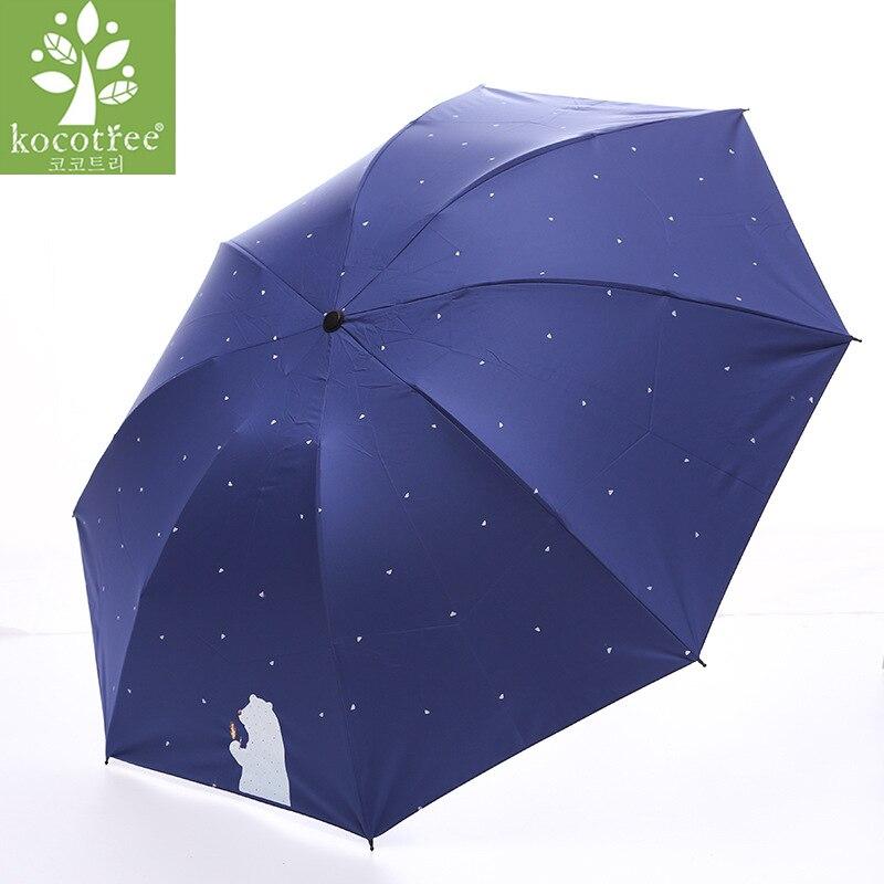 Kocotree Cartoon Little Bear Umbrella Kids Rainy Women Waterproof Large Anti UV Parasol Paraguas UV30