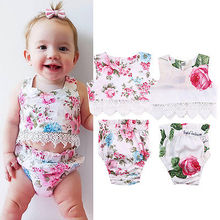 NEW Fashion Summer Casual Baby Girl Lace Floral Tops Vest+Bottoms Briefs PP Pants Outfits Set