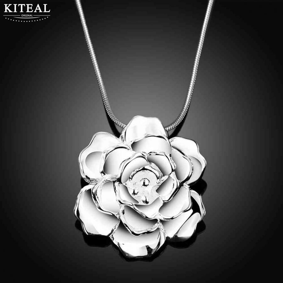 2018 nové stříbrné módní náhrdelníky Vintage Love pro ženy Big Rose květiny módní šperky příslušenství