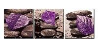Still Life Of Purple Leave On Black Spa Zen Stones 3 Pieces Panel Paintings Canvas Print