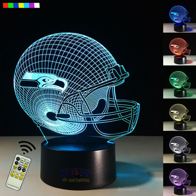 Free Drop Ship NFL Seattle Seahawk 3D Led Visual Night Light with Remote Football Helmet 7 Colors Birthday New Year Toy Gift