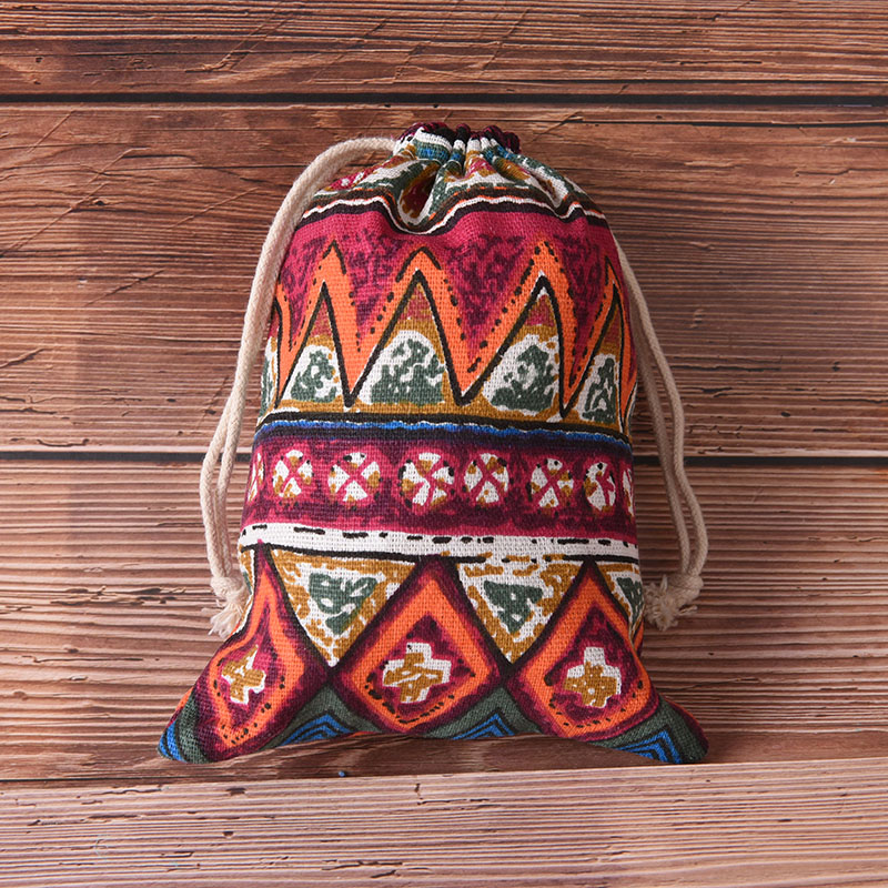 Practical Unisex Ethnic Style Printing Drawstring Bag Beam Port Storage Gift Bag Pouch Cluch Shopping Bags