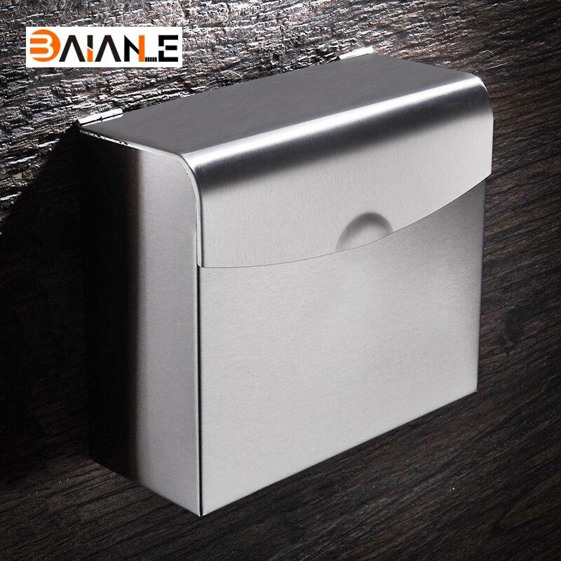 Stainless steel Bathroom Paper Towel Waterproof Wall Mounted Paper Holder Bathroom Toilet Paper Holder