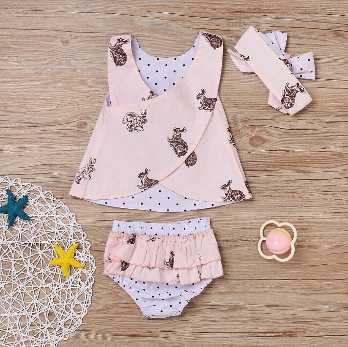 af06292841a 3 PCS Child Toddler Baby Girl Clothing Tops Summer Top Rabbit Sleeveless  Bottoms Headband Outfit Clothes Baby Girls Set Tags
