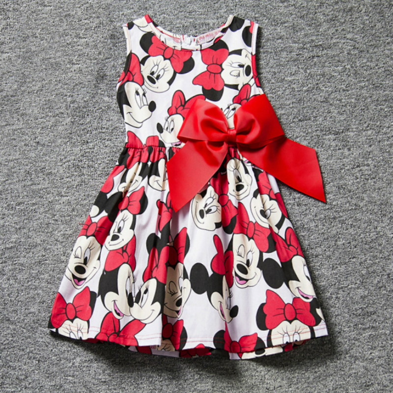 Minnie Mouse Dress for Girls Clothes Minnie Printing Dot Sleeveless Party Dress Baby Tops Clothes Fashion Kids Girls Costume