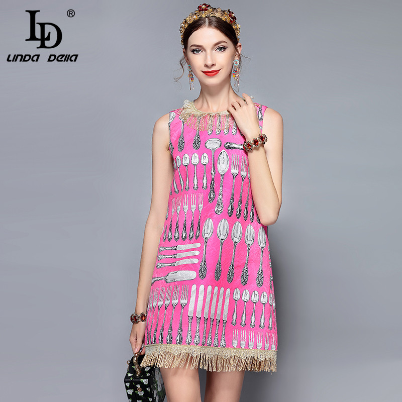 LD LINDA DELLA New Fashion Runway Summer Dress Women s Sleeveless Lace Tassel knife and fork