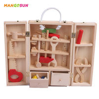 Wooden House Toolbox Toys Children Educational Toys Simulation Toolbox Set Wooden Puzzles with Screwdriver Boys and Girls Game