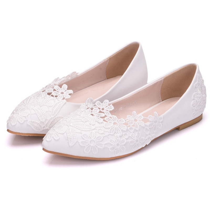 Blanc Xy Femmes Chaussures Banquet D'honneur Femme Nouveau Plat Demoiselles Dentelle De Peu a0172 Unique Pointu Mariées Profonde Mariage Et wXnIxqTfqE