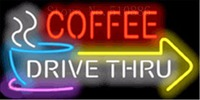 """Unidade Através Do Sinal de Néon personalizado Para O Café com Vidro de Seta para a Direita Exibição tubo Lâmpadas de Luz Da Lâmpada Bar Beer Decor Sinais de Néon 19 """"x 15"""" Lâmpadas de néon e tubos     -"""