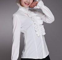 Victorian Women Long Puff Sleeves OL Shirt High Neck Frilly Ruffle Shirt Blouses