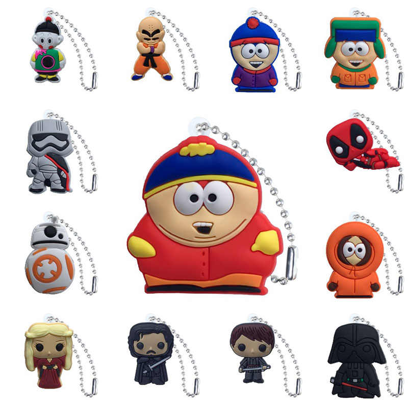 1 pcs Chaveiro PVC Figura Dos Desenhos Animados South Park Star Wars Game of Thrones Bola Corrente de Metal Chave Cadeia cadeia De Bola encantos Trinket