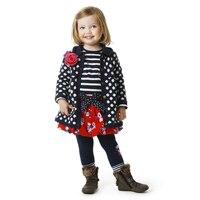 2016 new autumn & winter French style brand girl polka dot flowers sweater cardigan baby girls fleece lining coat clothing