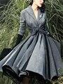 Ретро женская Одежда Пальто Бантом Пояса Юбка Vintage Империя Смеси Серый Плиссе С Длинным Рукавом Зима X-длинное Пальто G111553