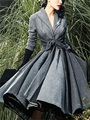 Retro Women's Clothing Coat Bowknot Sashes Skirt Vintage Empire Blends Gray Pleated Long Sleeve Winter X-Long Overcoat G111553