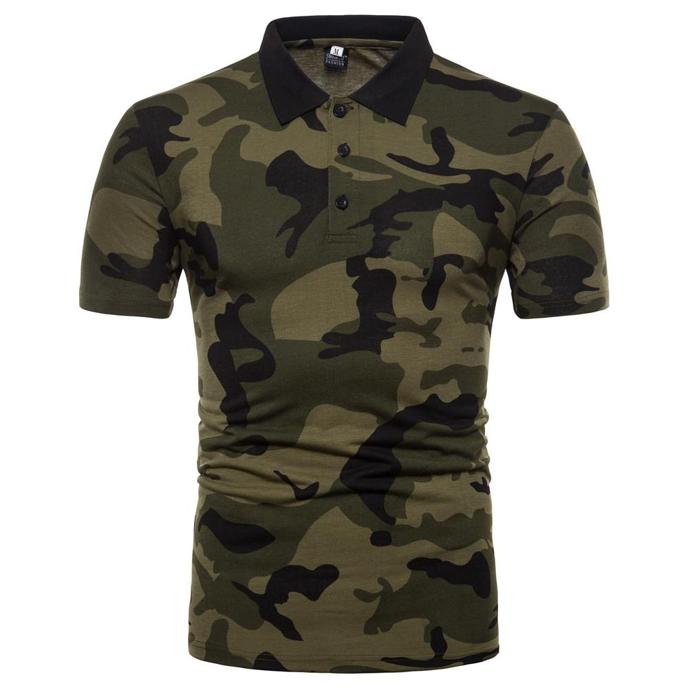 Camouflage Men   Polo   Shirt Short-sleeved   Polo   Shirt Men's Clothing Tops Tees Army green Coffee