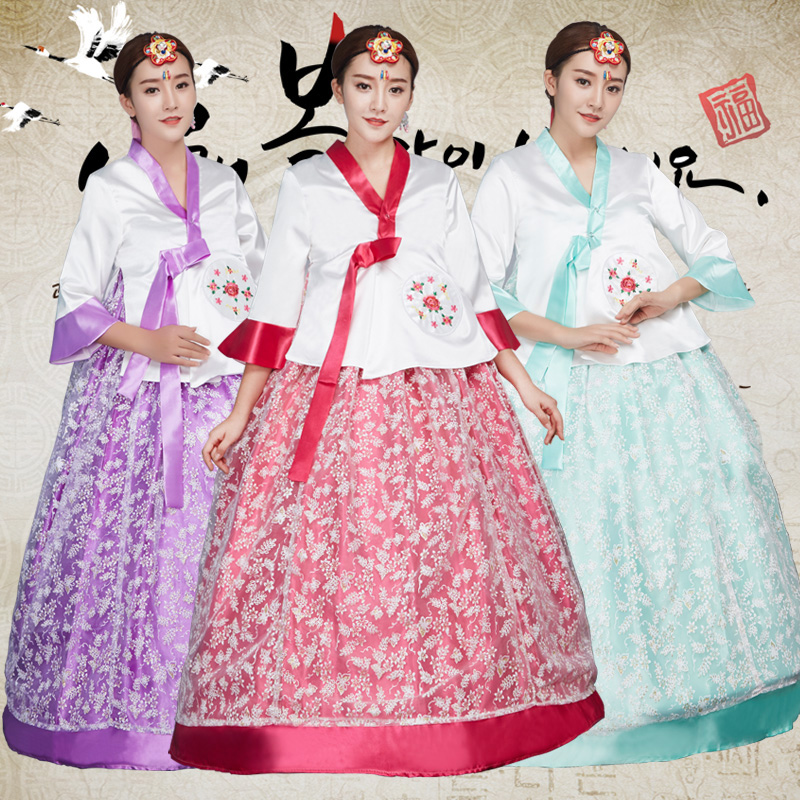 3 colors embroidery korean traditional dress hanbok korean for Korean wedding dress traditional