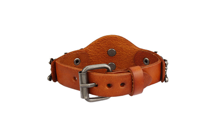 New Design Jewelry Multicolor Punk Rock Evil Skull Genuine Leather Wrap Bracelet for Women Men Ride Wristband Bracelets Cuff 5