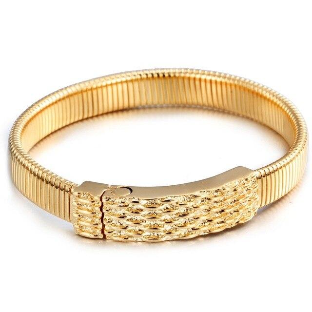 Fashion Square Buckle Cuff Bracelet Gold Bangle Stainless Steel Bangles Bracelets For Men Women