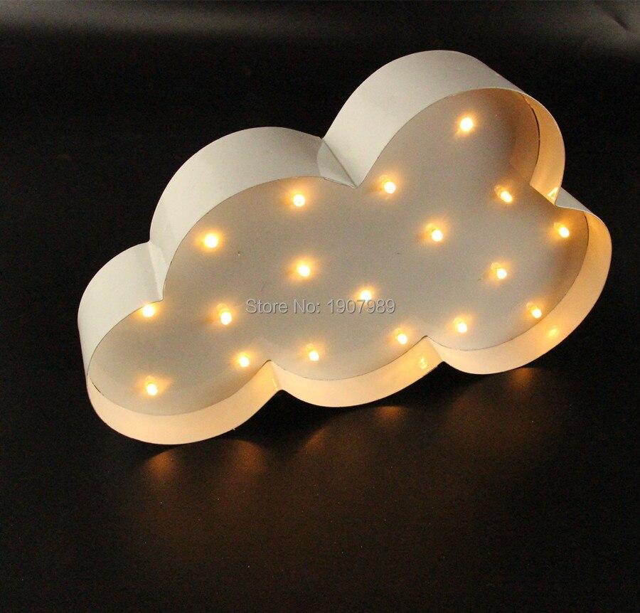 Balta mākoņa LED telts zīme LIGHT UP Vintage metāla naktsgaismas - Nakts gaismas - Foto 3