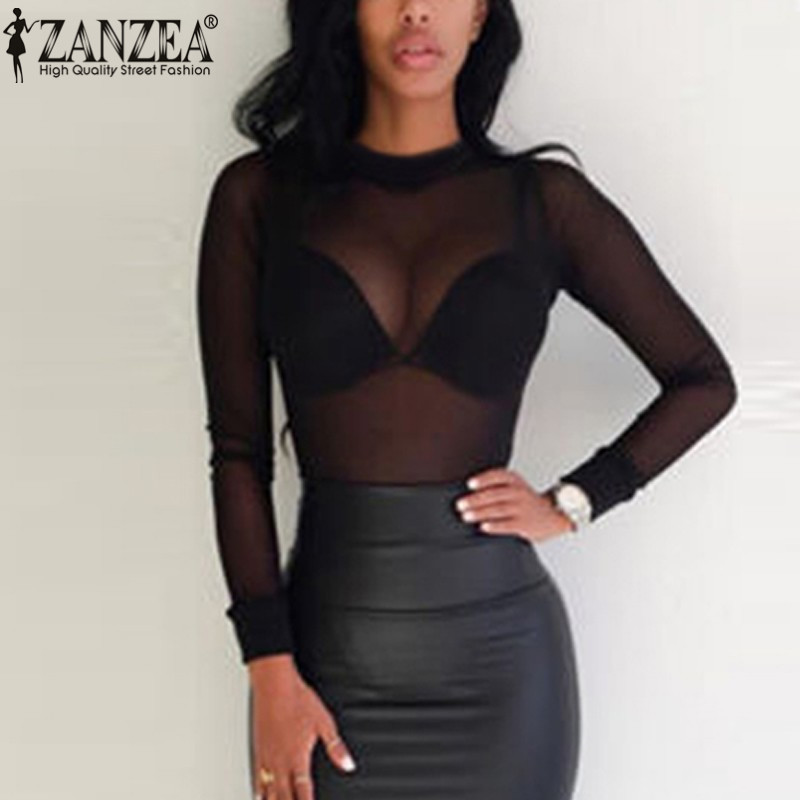 ZANZEA 2019 Sexy Women Blouses See Through Transparent Mesh Stand Neck Long Sleeve Sheer Blouse Shirt Ladies Tops Tee Plus Size