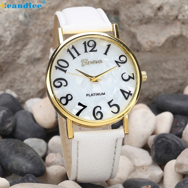 Drop shipping New Women's Fashion Geneva Roman Faux Leather Analog Quartz Wrist