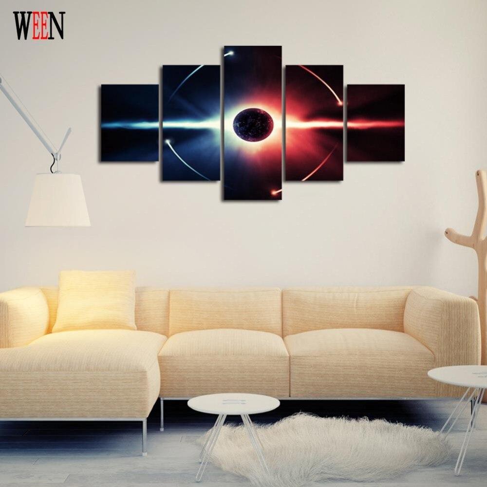 Resumen espacio Planeta Arte de la lona con enmarcado directamente ...