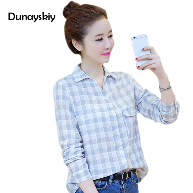 ef4d291dd girls plaid shirts for women summer casual pockets turn down collar blue  pink little girl student