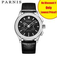 Повседневные модные мужские часы Parnis 41 мм Мужские наручные часы s Qaurtz хронограф черные кожаные Авто Дата Мужские кварцевые военные часы