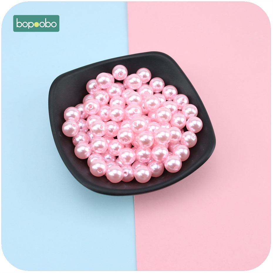 Bopoobo Imitation Pearl Beads Round Acrylic Beads Pink 10mm 20pc DIY Accessories Baby Pacifier Clips Bracelet Baby Teether