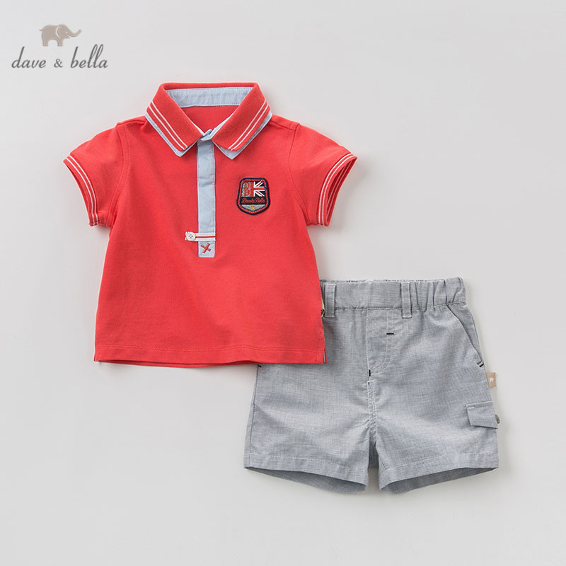 DBJ10350 dave bella summer baby boys fashion clothing sets handsome short sleeve suits children solid clothes