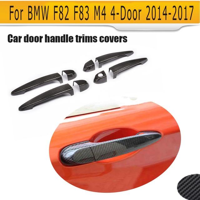 4 Door carbon fiber car door handle trims covers for BMW F82 F83 M4 4-Door 2014UP