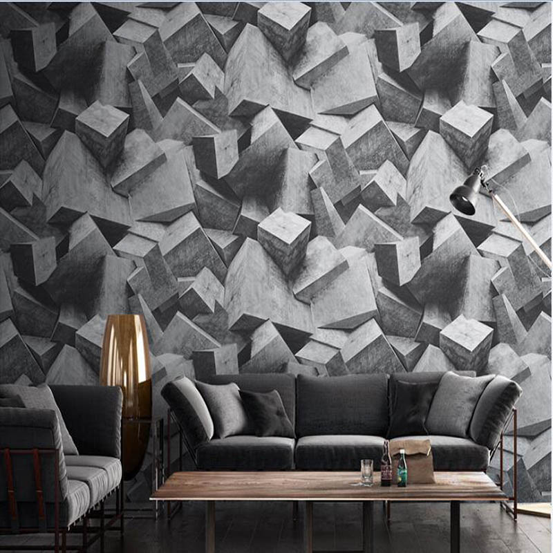Nordic Style Industrial Wind 4d Wallpaper Abstract Geometry Film and Television Wall Living Room 3D Cement Gray White Wallpaper 18 5 dark gray and light gray and white and transparent holographic rear projection film
