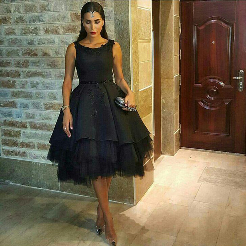 Buy Sexy Hollow Back Black Tea-Length Prom Dresses Sleeveless Ball Gown Lace Homecoming Cocktail Party Gowns vestidos de baile for only 155.7 USD