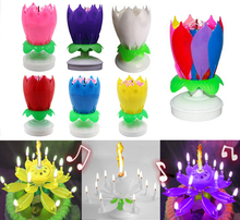 Musical Candle, Lotus Flower Rotating Candles Light, Happy Birthday Party Gift, Magical Music Candle