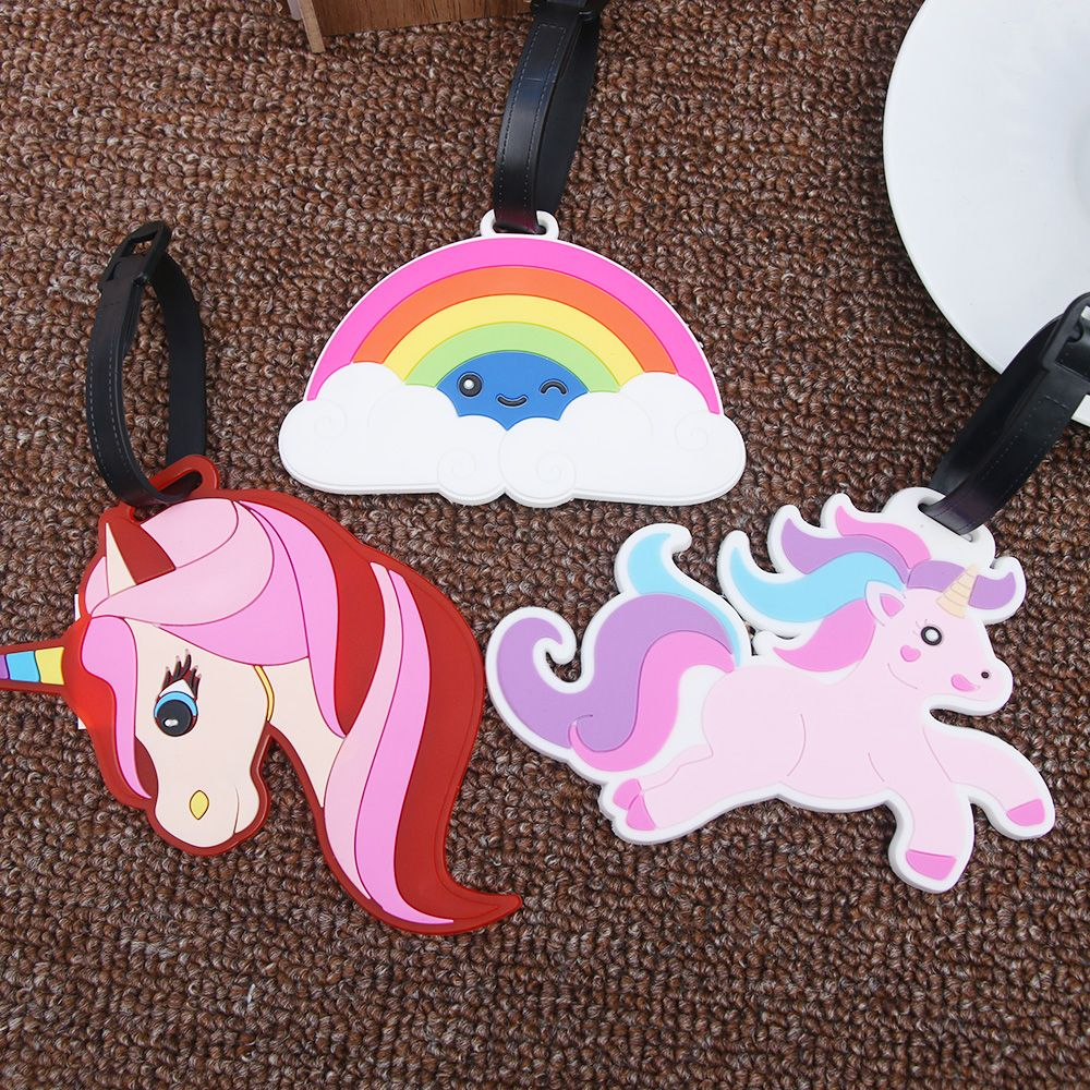 Creative Luggage Tag Animal Unicorn Rainbow Cartoon Suitcase ID Address Holder Baggage Boarding Tags Travel Accessories(China)