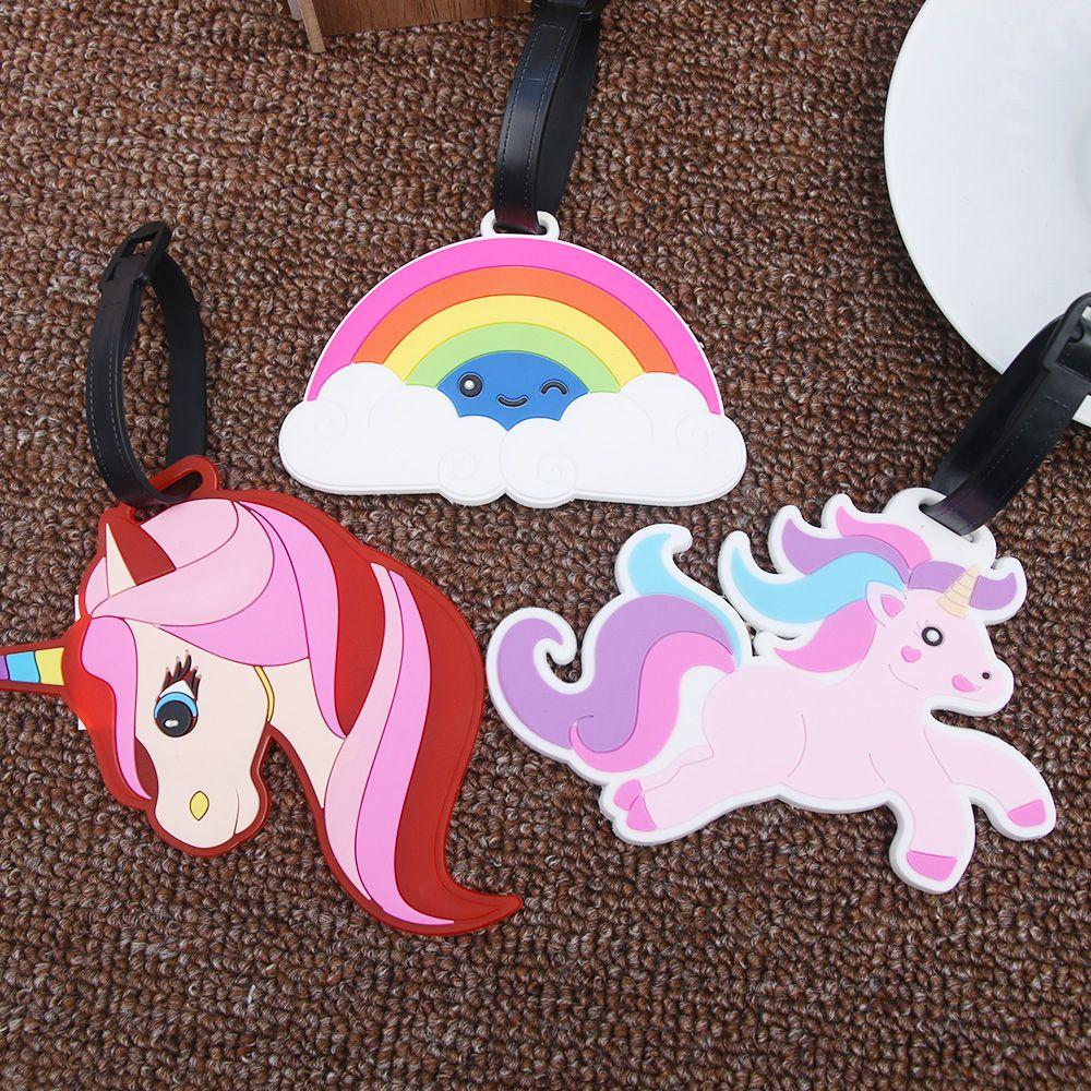 Creative Luggage Tag Animal Unicorn Rainbow Cartoon Suitcase ID Address Holder Baggage Boarding Tags Travel Accessories