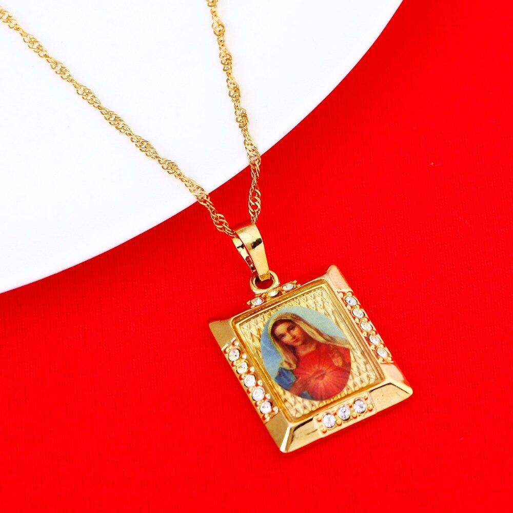 2974da7d0eb6 Virgen María collar Mary concebido sin pecado rezar colgante oro color  Iglesia Católica joyas para las mujeres