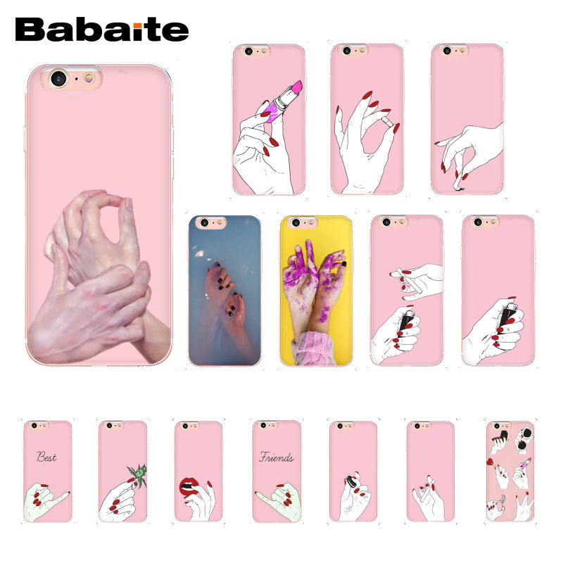 Babaite Best Friend Pink Hands Red Nails Minimalist <font><b>PhoneCase</b></font> for <font><b>iphone</b></font> 11 Pro 11ProMax 6S 6plus 7 <font><b>7plus</b></font> 8 8Plus X Xs MAX 5S XR image