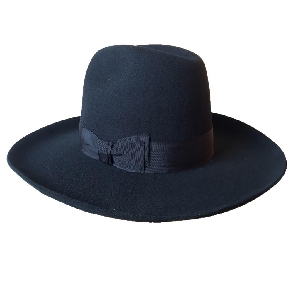Black Israel Jewish Hat Jews Wool Hasidic Kosher Rabbi Fedora Cap Wide Brim 10 cm
