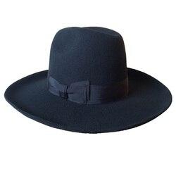 Chapeau juif noir israël   Laine, juif Hasidic casher, chapeau Fedora + large bord 10 cm