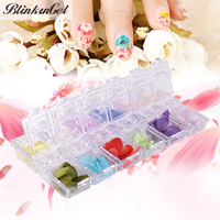 12 Colors 3D Dried Flower Wholesale Rose Flower 3D Nail Art Flowers For Nails Decorations Nail