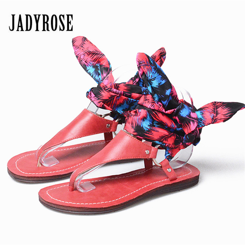 Jady Rose Fashion Red Flip Flops Women Genuine Leather Gladiator Sandals Lace Up Riband Flat Shoes Woman Casual Beach Flats mabaiwan new women genuine leather gladiator sandals flip flops rope fringe lace up flats shoes woman casual beach zapatos mujer