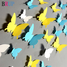 12 unids/lote 3D Color sólido de la pared de la mariposa pegatinas, boda azul amarillo hermosas mariposas para habitación de niños pared calcomanías Decoración(China)